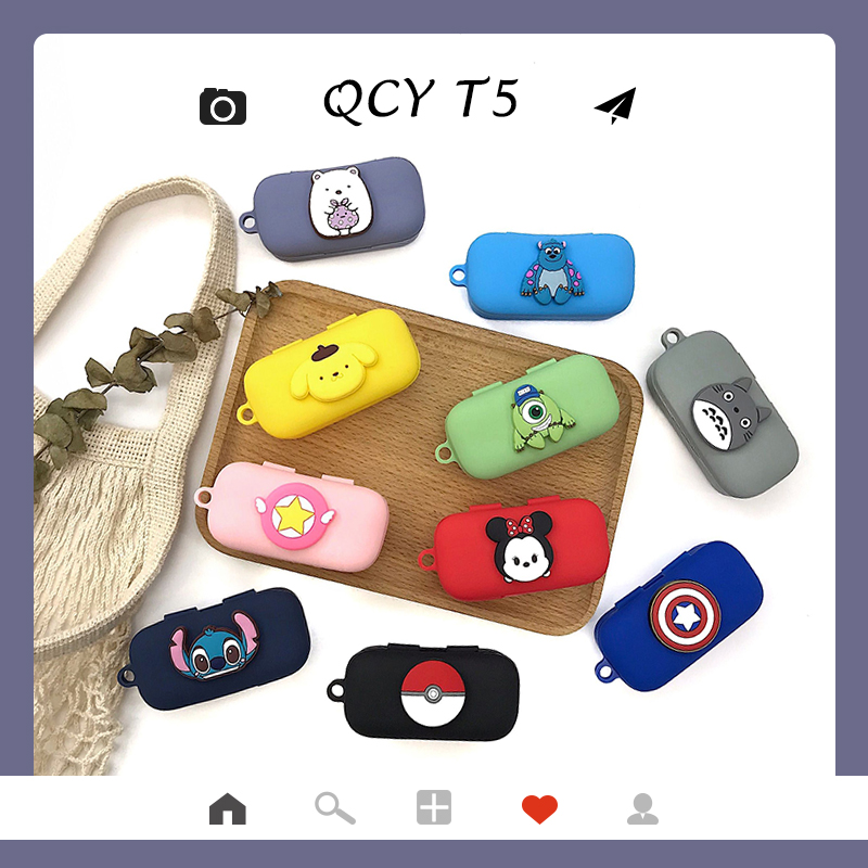 Cartoon Case For QCY T5 Wireless Bluetooth Headset Portable Silicone Protective Cover With Anti-lost Buckle For QCY T5