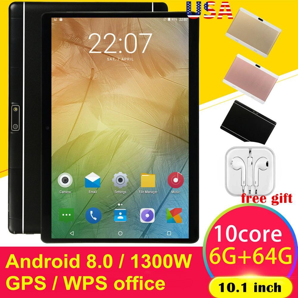 10.1 Pouces HD Jeu Tablette Ordinateur Android 8.0 Dix-Core GPS WIFI Double Caméra