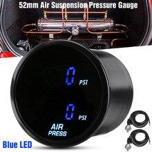 52mm Dual Air Pressure Gauge 290PSI Air Suspension Air Ride Air Press Meter Red/Blue LED 2pcs 1/8 NPT Electrical Sensor 2M Wires