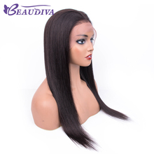 Straight 13*4 Lace Frontal Human Hair Wigs Pre Plucked With Baby Glueless Brazilian Bleached Knots
