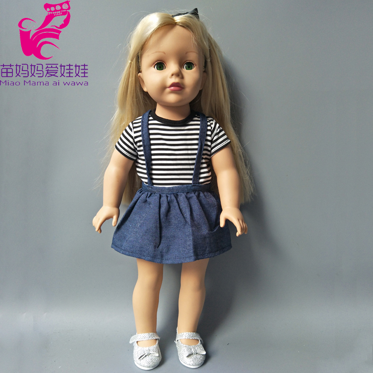 For 18 Inch Baby Dolls Strip T Shirt +Jeans Skirt Fit For 45cm Girls Doll Dress Sets