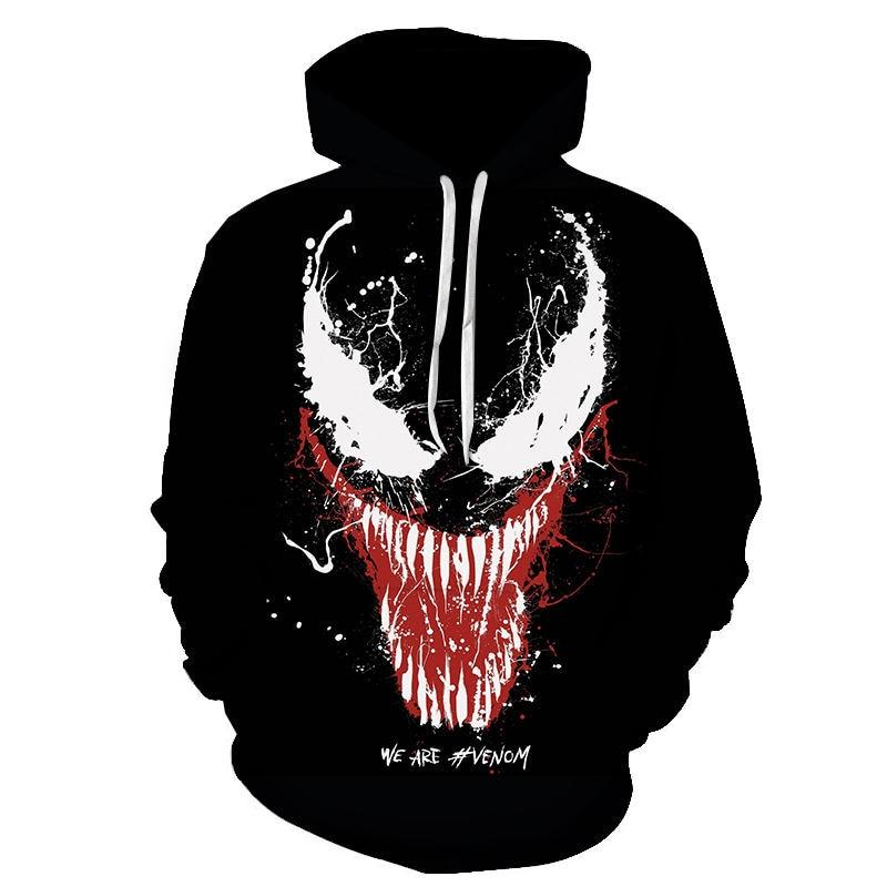 Hot Sale New Arrive Popular Movie Venom 3D Printed Hoodies Men Women Hooded Sweatshirts Hip Hop Pullover Pocket Jackets