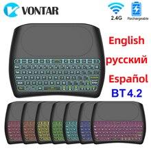 لوحة المفاتيح الخلفية BT4.2 2.4G لوحة المفاتيح اللاسلكية الإنجليزية الروسية الإسبانية D8 Plus سوبر ماوس هوائي مع لوحة اللمس ل مربع التلفزيون الذكية