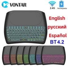 Teclado retroiluminado BT4.2, inalámbrico, 2,4G, ratón Super Air con Touchpad para Dispositivo de TV inteligente, inglés, ruso, español, D8 Plus
