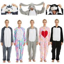 Pijamas Para As Mulheres Unicórnio Kigurumi Flanela Animal Bonito Pijama Define Mulheres Inverno Pijamas Nightie Pijama desgaste Casa de unicornio
