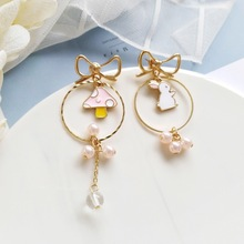 Cute Mushroom Rabbit Princess Kids Clip Earrings Bowknot Girls Asymmetric Earrings