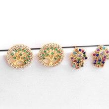 цены Life of Tree Stud Earrings Women Hamsa Fatima Hand Earring Gold Color CZ Paved Rainbow Jewelry Small Studs Aretes Dainty MZ052