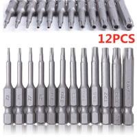 12Pcs 50mm inserti per cacciavite Torx magnetici cacciavite di precisione Bit Torx Hex Bit maniglia riparazione del telefono cellulare Kit di cacciaviti