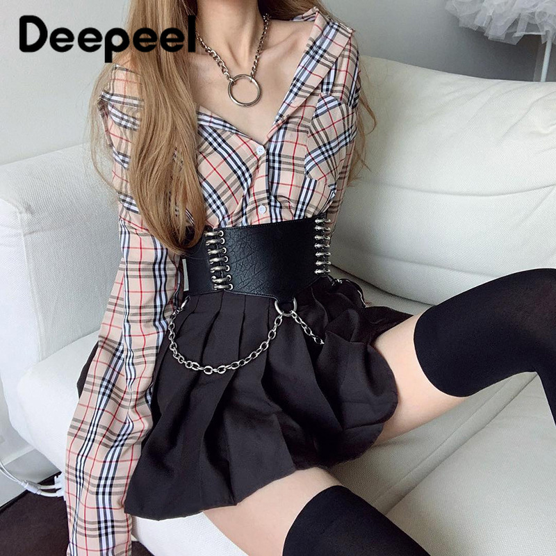 Deepeel 1pc 11cm*60-80cm Women Fashion Slim Corset Cummerbund Metal Iron Ring Chain Decoration Dark Style Gothic Girdle YK783