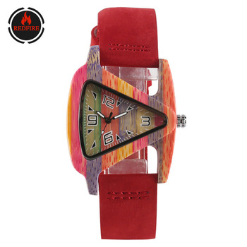 REDFIRE Creative Wood Watch Women's Watches Triangle Dial Ladies Genuine Leather Band Colorful Bamboo Wood Female Quartz Watch ttlife men fashion black sandal bamboo wood watch creative 12 holes real leather band business watch casual quartz clock wd204