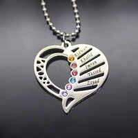 Elequisite coração colar novo birthstone colares jóias melhor presente de aniversário pode feito sob encomenda qualquer nome yp2997 (dropshipping)
