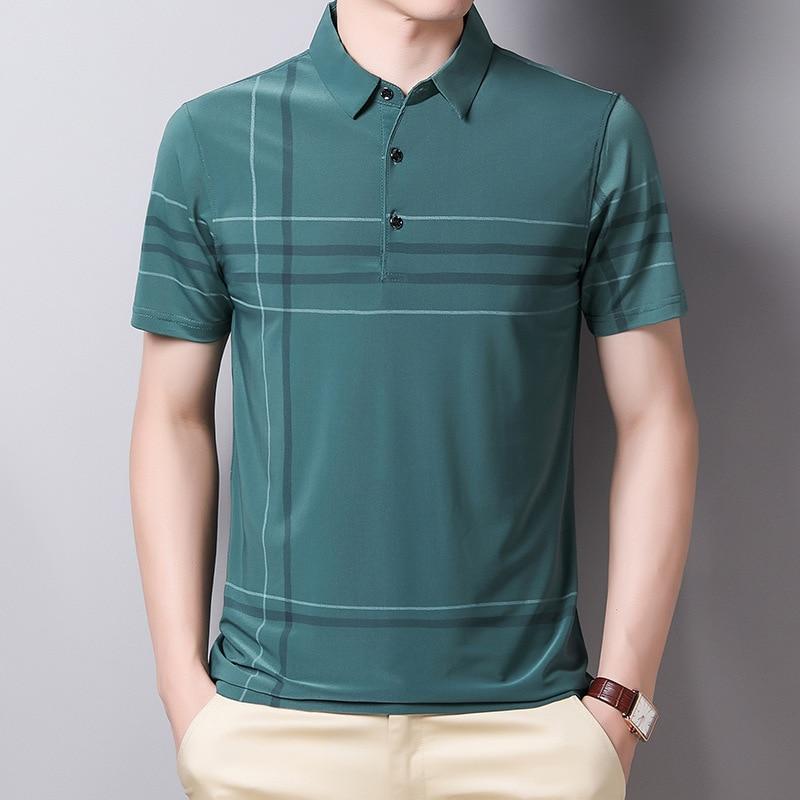 Ymwmhu Fashion Slim Men Polo Shirt Black Short Sleeve Summer Thin Shirt Streetwear Striped Male Polo Shirt for Korean Clothing 4