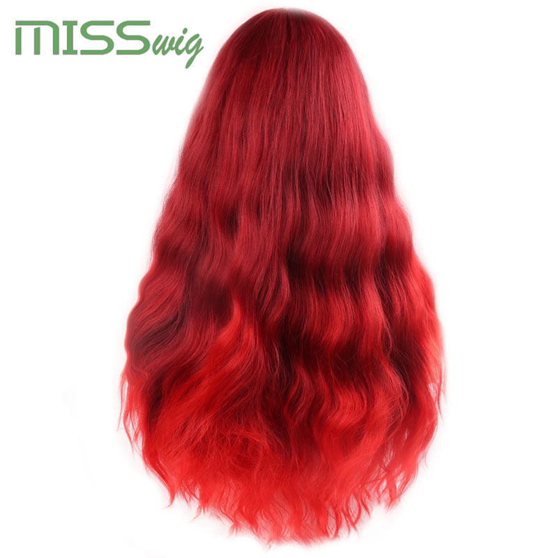 Image 2 - MISS WIG Long Wavy Wigs for Black Women African American Synthetic Hair red Brown Wigs with Bangs Heat Resistant WigSynthetic None-Lace  Wigs   -