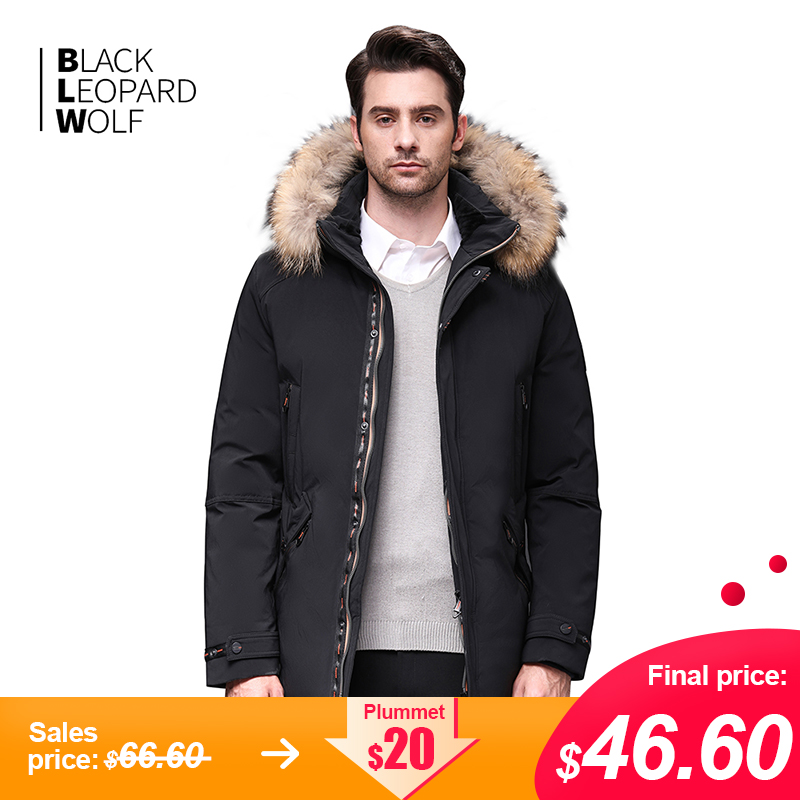 Blackleopardwolf 2019 Winter Jacket Men Coat Men Parka With Luxury Fur Detachable Raccoon Fur Thick Windproof Outwear BL-989M