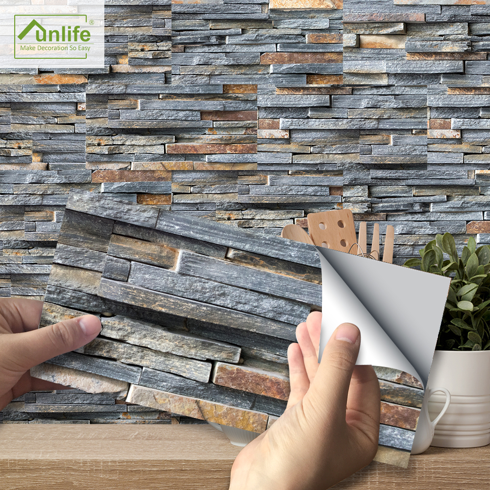 Funlife Origin Waterproof PVC 20x10cm Rustic Stone Brick Self-adhesive Wall And Tile Sticker For Kitchen And Dining Room's Decor