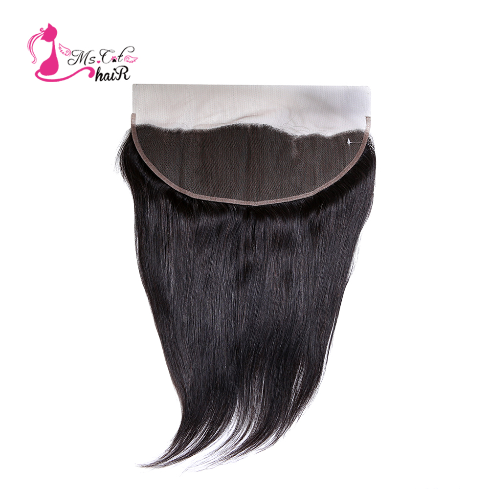 Ms Cat Hair 100% Human Hair Brazilian Straight Hair Lace Frontal 13x4 Swiss Lace Frontal Ear To Ear Remy 8' -20'' Free Shipping