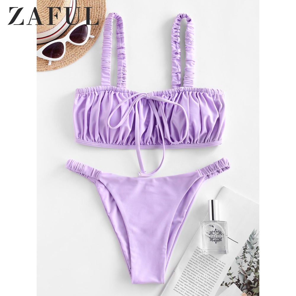 ZAFUL Sexy Elastic Straps Tie Ruched Bikini Swimsuit New Smocked Padded Tube Top Bikini Sets Solid High Cut Women Swimwears