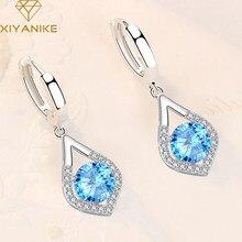XIYANIKE de Plata de Ley 925 gota de agua Zircón hueco filo Multi-color pendientes grandes diamantes de imitación de la manera larga de regalo de la joyería
