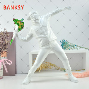 Image 4 - Resin figurine England Street Art  Banksy Flower Bomber sculpture statue Bomber polystone Figure collectible art toy