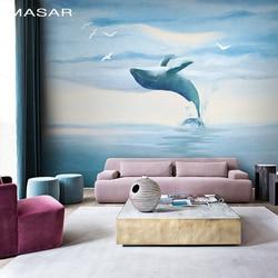 MASAR оригинальные фотообои ручной росписью морских животных гостиная розовый синий детская комната обои диван обои Дельфин Бэй