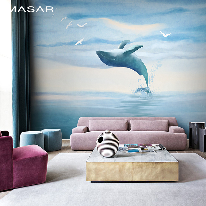 MASAR Original Hand-painted Marine Animal Murals Living Room Pink Blue Children's Room Wallpaper Sofa Wallpaper Dolphin Bay