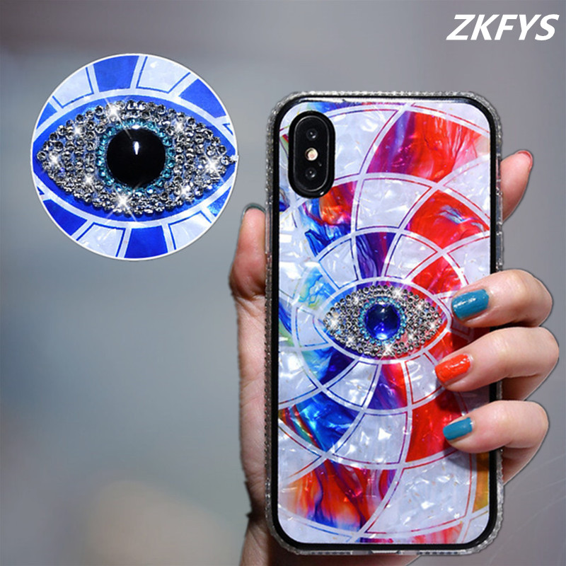 Jewelled Mystery Eye Phone Case For iPhone XS XR Max X Crystal Glitter Back Cover 6 6S 7 8 Plus Hard Coque