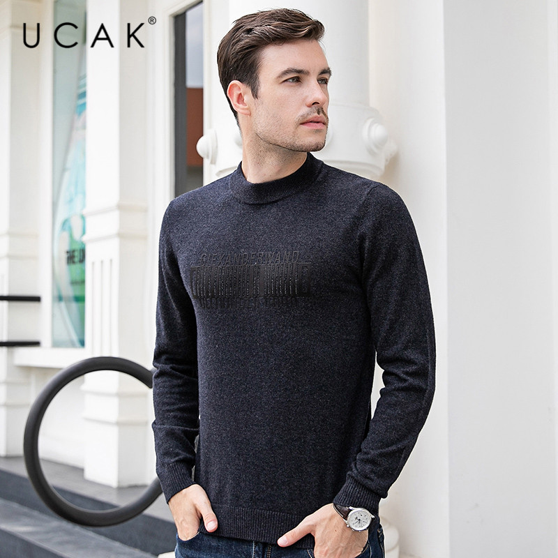 UCAK Brand Sweaters Men Cashmere Streetwear Casual Pullover Male 2019 Autumn Winter Thick Warm Pull Homme Pure Merino Wool U3090