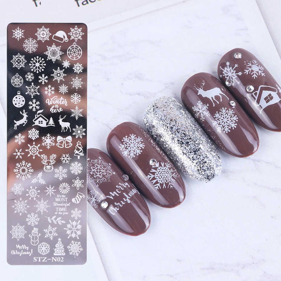 1 conjunto de placas de carimbo da arte do prego unha polonês impressão folha flor dreamcatcher floco de neve natal stamper scrapper esponja JISTZN01-12-2