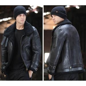 Image 3 - Fashion 100% Quality Real Sheepskin Fur Men Coat Genuine Full Pelt Sheep Shearling Male Winter Jacket Brown Men Fur Outwear