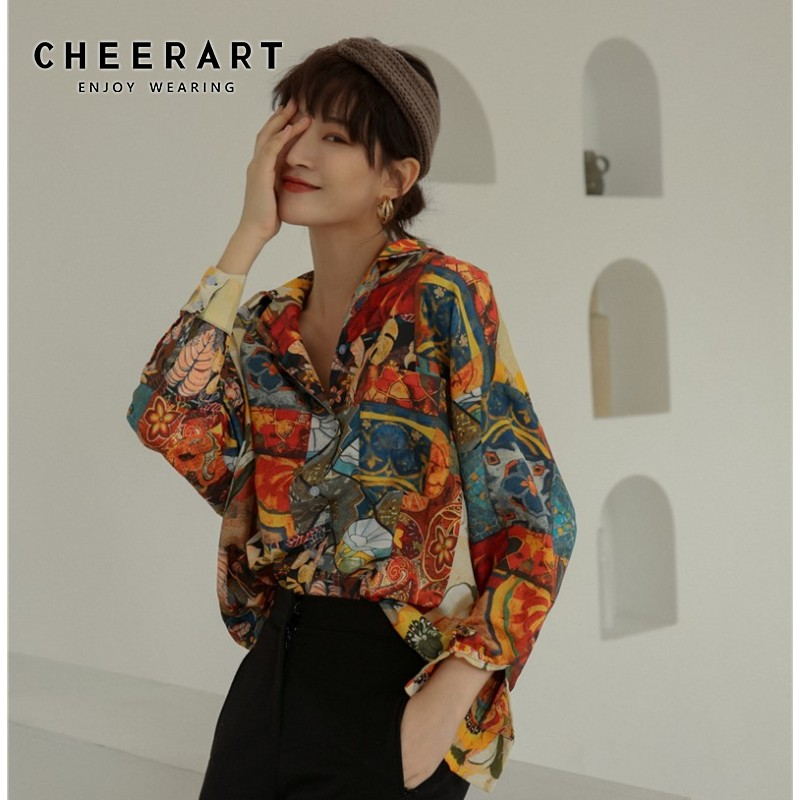 Cheerart Sunflower Vintage Blouse Loose Floral Top Painting Long Sleeve Blouse Button Down Shirt For Women Fall