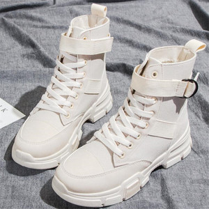 Image 2 - Canvas boots female 2020 new autumn and winter wild British wind womens boots high top lace boots women sneakers zapatos mujer