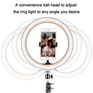 Image 2 - 26cm halka ışık LED fotoğraf stüdyosu kısılabilir kamera lambası Video Youtube makyaj VK Selfie ile 160cm Tripod telefon tutucu standı