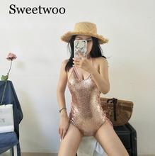 Fashion Shiny Women One-Piece Suit  Sexy Sequins Bikini 2019 Swimsuit Beachwear Swimwear Bathing