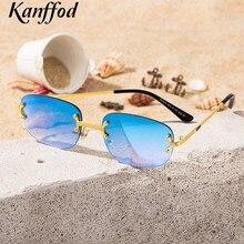 Kanffod – lunettes de soleil rectangulaires sans bords pour hommes et femmes, carrées en métal, de haute qualité, à la mode, avec lentille miroir, UV400, 2021