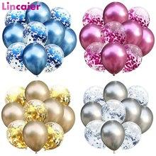 10 pçs 12 polegada metálico balões crianças festa de aniversário suprimentos decorações criança crianças descartáveis utensílios de mesa