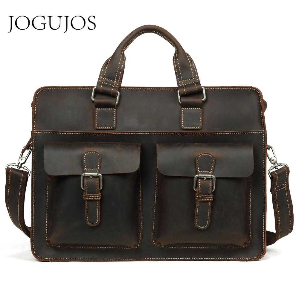 JOGUJOS Vintage Genuine Leather Men's Briefcase Crazy Horse Leather Briefcase Male Laptop Crossbody Bag Men Business Travel Bag