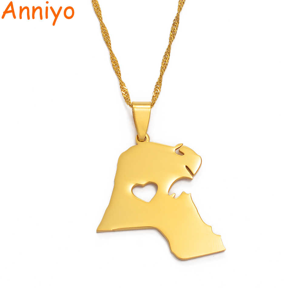 Anniyo Kuwait Pendant Necklace for Women/Men Gold Color Jewelry Map of Kuwait #004721