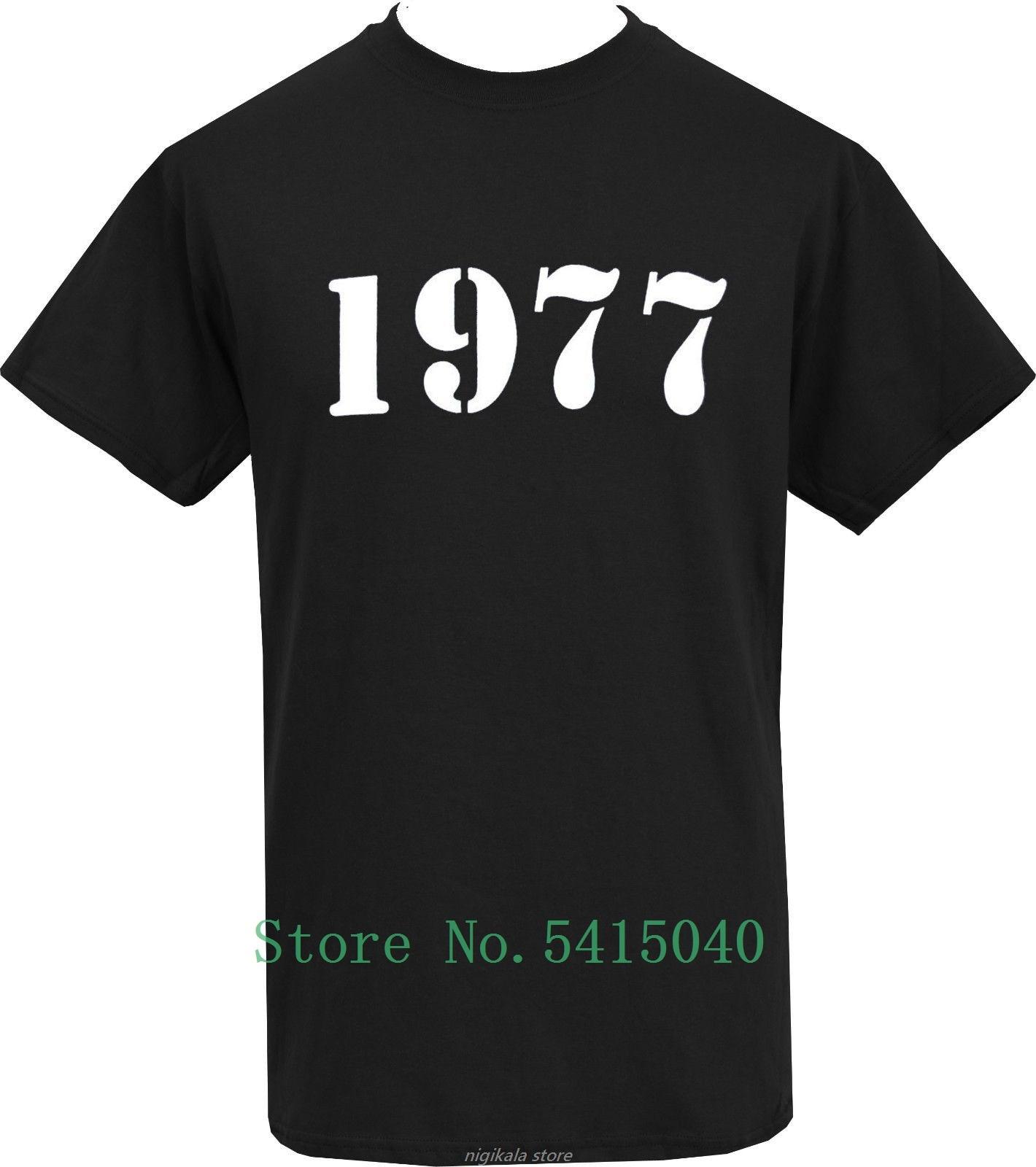 Camiseta negra para hombre 1977 Punk Rock Era sedicionarios 77 PLANTILLA 100% S-5xl de algodón Princesa coreana borlas cabeza opaca cortina paño cortina + Voile cortinas velos de tul para salón dormitorio cortina 77 #25