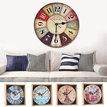 Настенные часы, домашний декор, антикварные немые Подвесные часы, круглые деревянные кварцевые часы, европейские ретро часы для дома, кухни, столовой, украшение