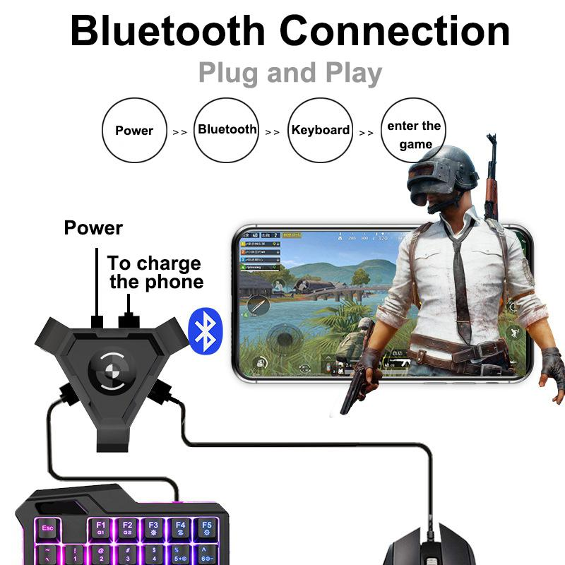 MeterMall PUBG Mobile Gamepad Controller Gaming Keyboard Mouse Converter For Android Phone To PC Bluetooth Adapter Plug And Play