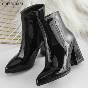 Image 1 - Silver Black Sexy Ankle Boots For Women High Heels Boots Ladies Winter Short Boots Shoes Woman Gold Bottines Pour Les Femmes