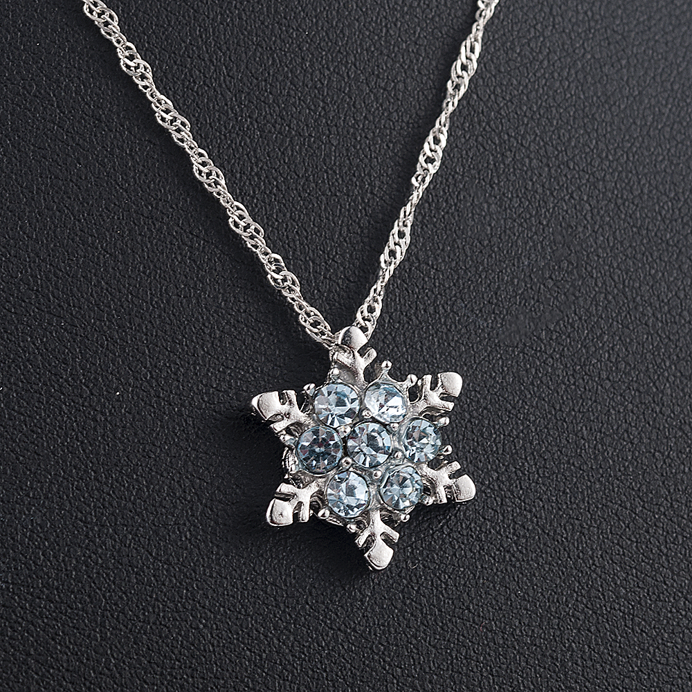 Ожерелье и кулоны в виде цветов с синими кристаллами в виде снежинок и циркония, винтажные женские Украшения, оптовая продажа