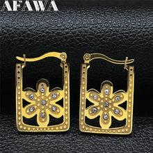 Pendientes circulares de cristal de acero inoxidable para mujer, pendientes de aro de Color dorado con flor geométrica, joyería para mujer EXS01