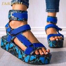 SARAIRIS 2020 Plus Size 44 INS HOT Flat Platform Blue Snake Gladiator Fashion