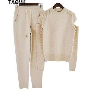 Image 4 - TAOVK Molle Alla Moda in maglia set caldo delle donne knittwear aperto maniche spalla maglione allentato vestito di mutanda 2 pezzi abiti per le donne 2019