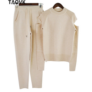Image 4 - TAOVK Stylish Soft knit set warm womens knittwear open shoulder sleeves sweater loose pant suit 2 piece outfits for women 2019