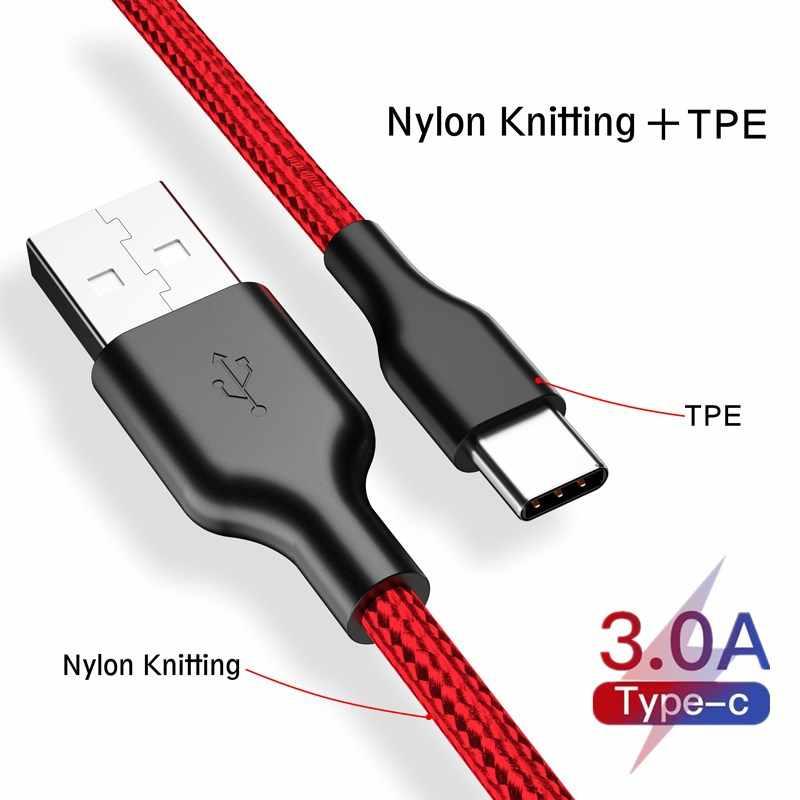 3A USB Tipe C Kabel untuk Huawei Xiaomi Redmi Note USB-C Ponsel Cepat Pengisian Kabel Tipe C untuk samsung GALAXY S9 S8 Plus S10