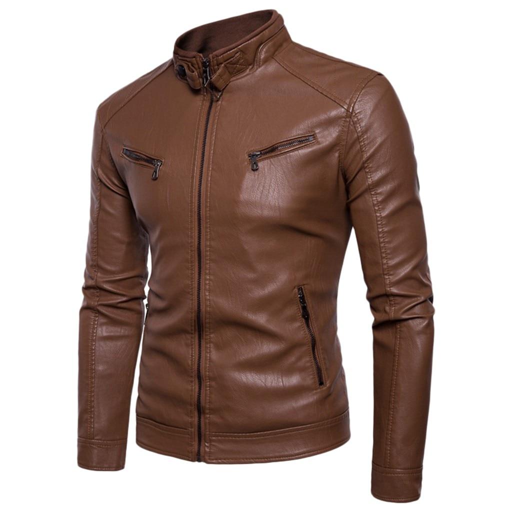 Free Ostrich Men Autumn Winter Brand New Causal Vintage Leather Jacket Coat Men Outfit Design Cycling Zipper Pocket Men Outwear