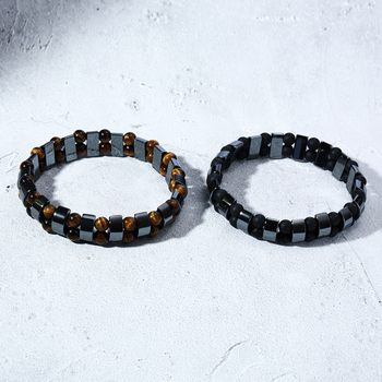Double Hematite Tiger's Eye Bracelets Men Tiger Eye & Hematite Charm Bracelets for Women Natural Energy Stone Bracelet Jewelry 4