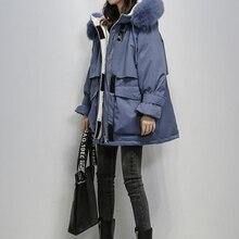 QIUSHAN Winter Jacket Women Large Natural Fox Fur White Duck